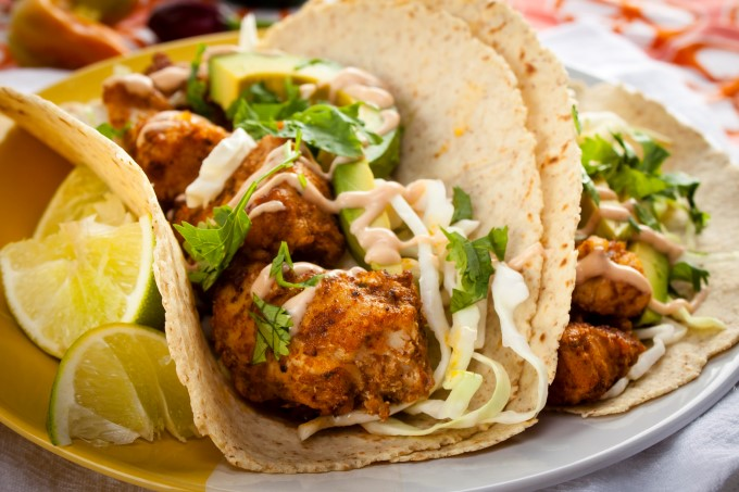 Real good fish recipe charred spiced bonito tacos for Sauce for fish tacos